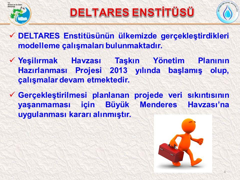 4 DELTARES Enstitüsünün ülkemizde gerçekleştirdikleri modelleme çalışmaları bulunmaktadır. Yeşilırmak Havzası Taşkın Yönetim Planının Hazırlanması Pro