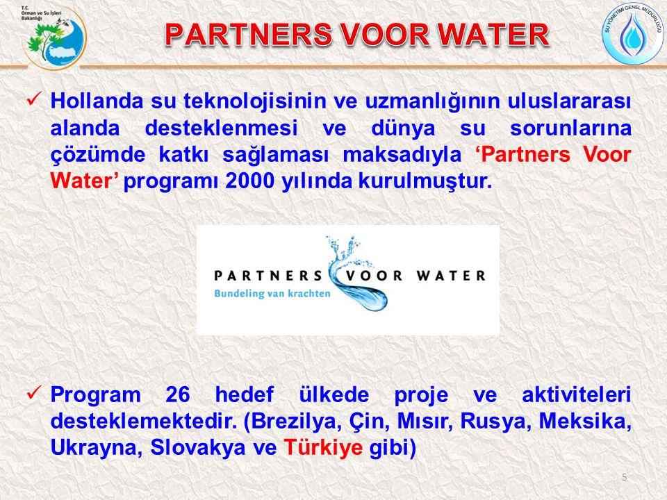 5 Hollanda su teknolojisinin ve uzmanlığının uluslararası alanda desteklenmesi ve dünya su sorunlarına çözümde katkı sağlaması maksadıyla 'Partners Voor Water' programı 2000 yılında kurulmuştur.