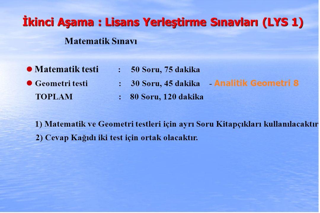 2010-ÖSYS Sunum, İstanbul 29 Ağustos 2009 İkinci Aşama : Lisans Yerleştirme Sınavları (LYS 1) Matematik Sınavı Matematik testi : 50 Soru, 75 dakika Ge