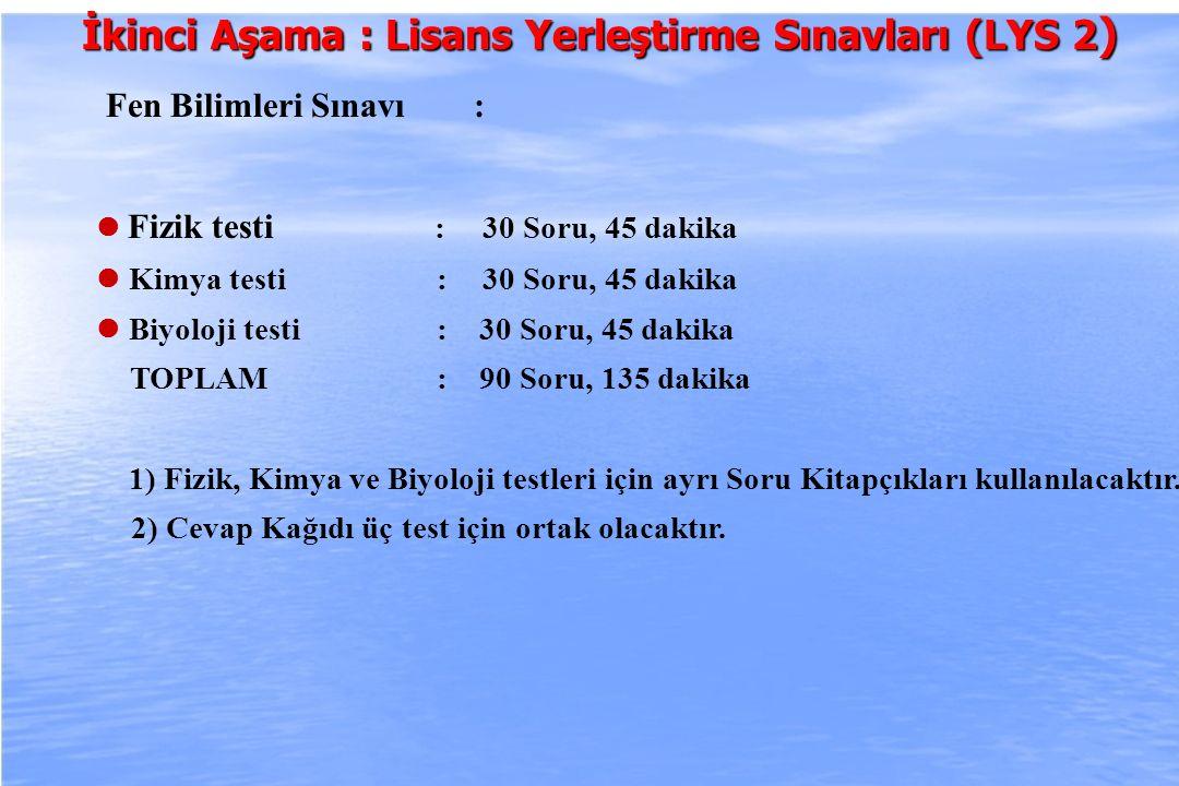 2010-ÖSYS Sunum, İstanbul 29 Ağustos 2009 İkinci Aşama : Lisans Yerleştirme Sınavları (LYS 2 ) Fen Bilimleri Sınavı : Fizik testi : 30 Soru, 45 dakika