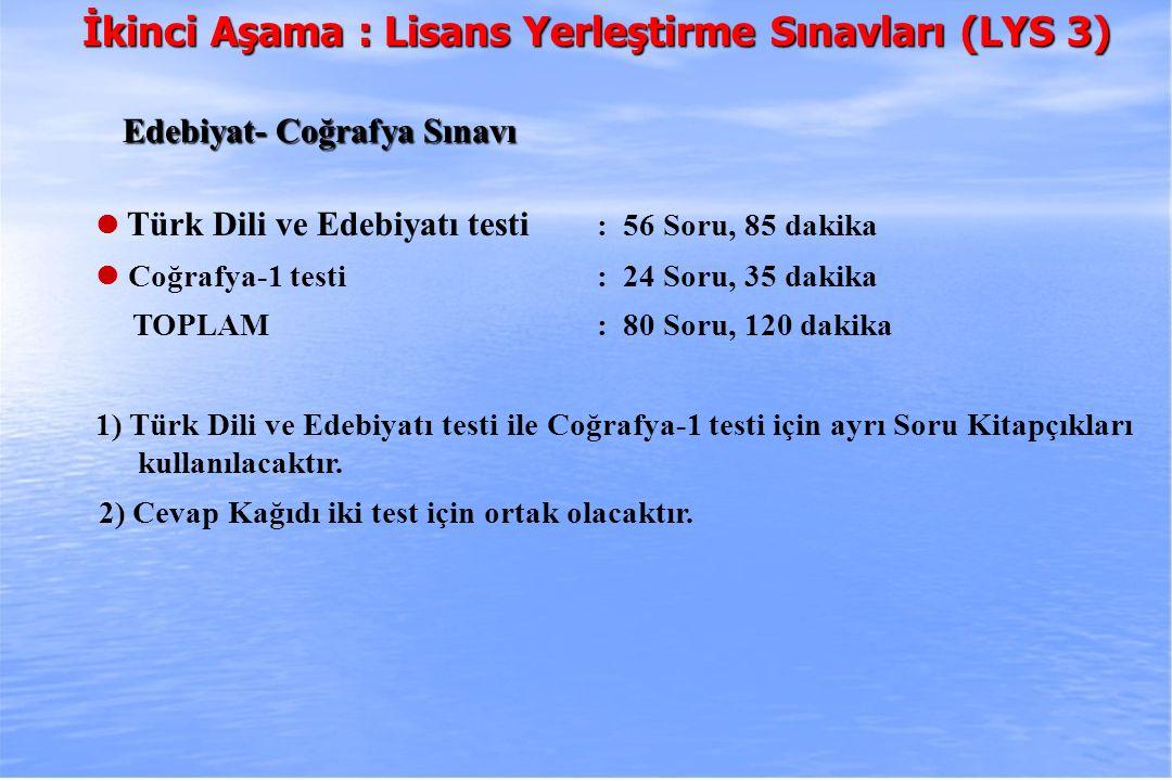 2010-ÖSYS Sunum, İstanbul 29 Ağustos 2009 İkinci Aşama : Lisans Yerleştirme Sınavları (LYS 3) Edebiyat- Coğrafya Sınavı Edebiyat- Coğrafya Sınavı Türk