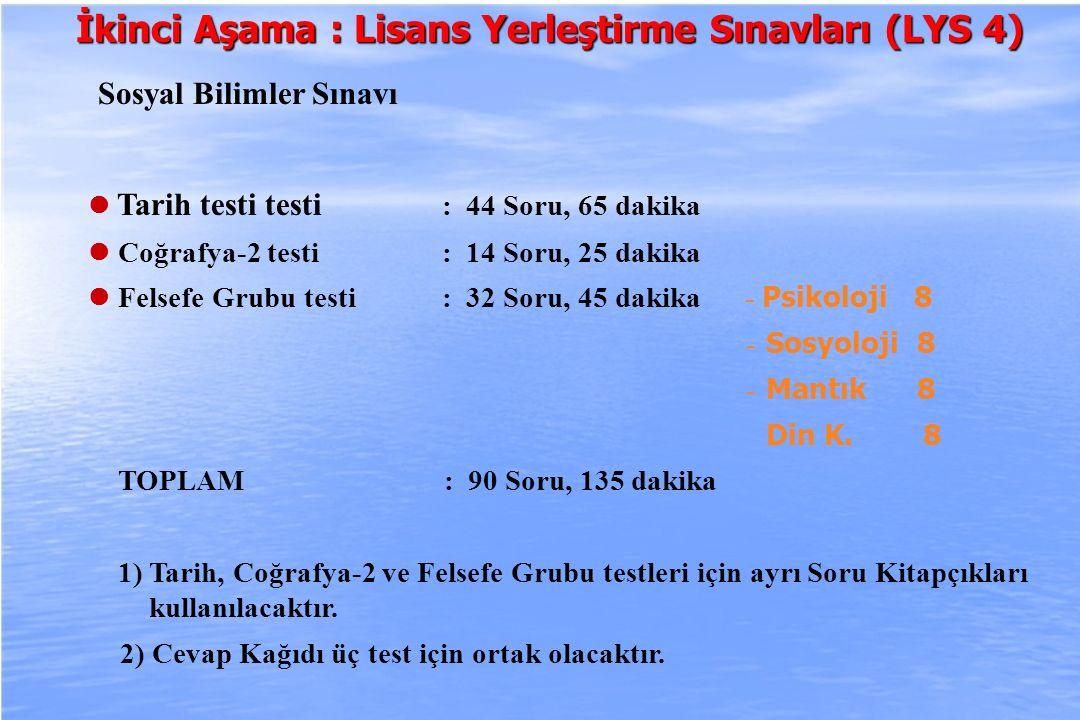 2010-ÖSYS Sunum, İstanbul 29 Ağustos 2009 İkinci Aşama : Lisans Yerleştirme Sınavları (LYS 4) Sosyal Bilimler Sınavı Tarih testi testi : 44 Soru, 65 d