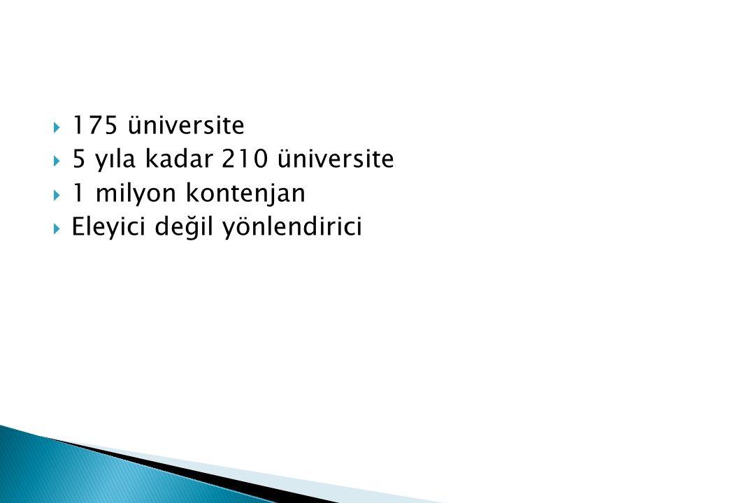  175 üniversite  5 yıla kadar 210 üniversite  1 milyon kontenjan  Eleyici değil yönlendirici