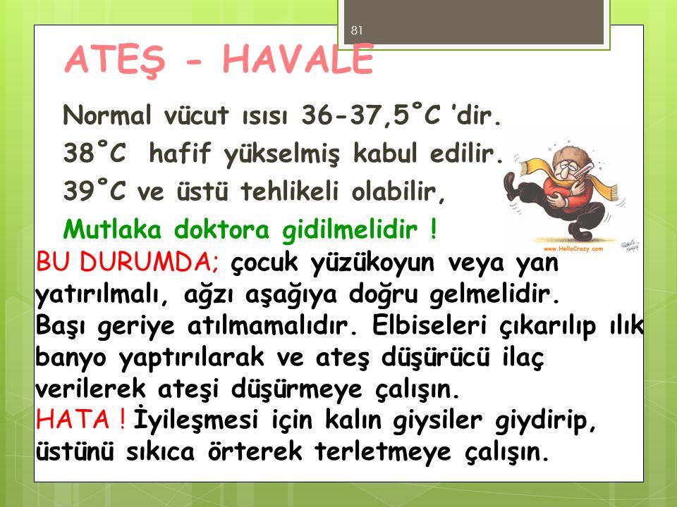 ATEŞ - HAVALE Normal vücut ısısı 36-37,5˚C 'dir. 38˚C hafif yükselmiş kabul edilir. 39˚C ve üstü tehlikeli olabilir, Mutlaka doktora gidilmelidir ! 81