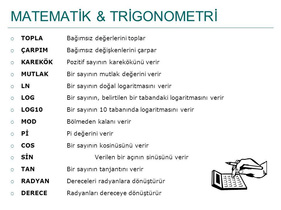 TARİH&SAAT FONKSİYONLARI