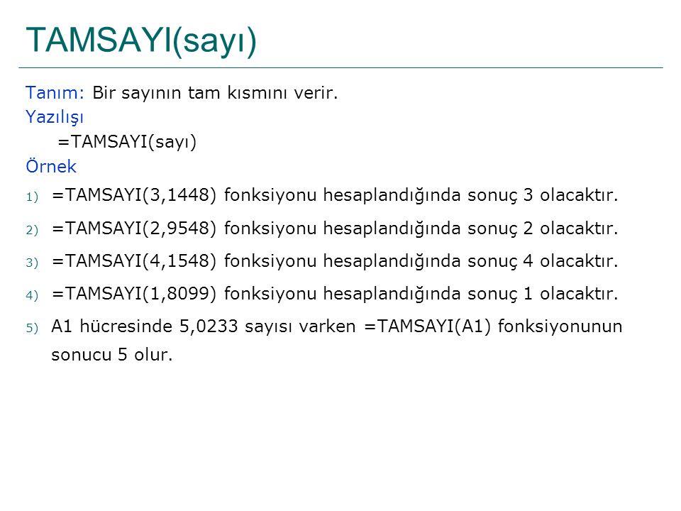 TAMSAYI(sayı) Tanım: Bir sayının tam kısmını verir. Yazılışı =TAMSAYI(sayı) Örnek 1) =TAMSAYI(3,1448) fonksiyonu hesaplandığında sonuç 3 olacaktır. 2)