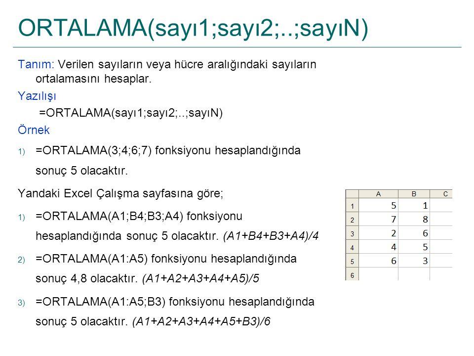 ORTALAMA(sayı1;sayı2;..;sayıN) Tanım: Verilen sayıların veya hücre aralığındaki sayıların ortalamasını hesaplar. Yazılışı =ORTALAMA(sayı1;sayı2;..;say