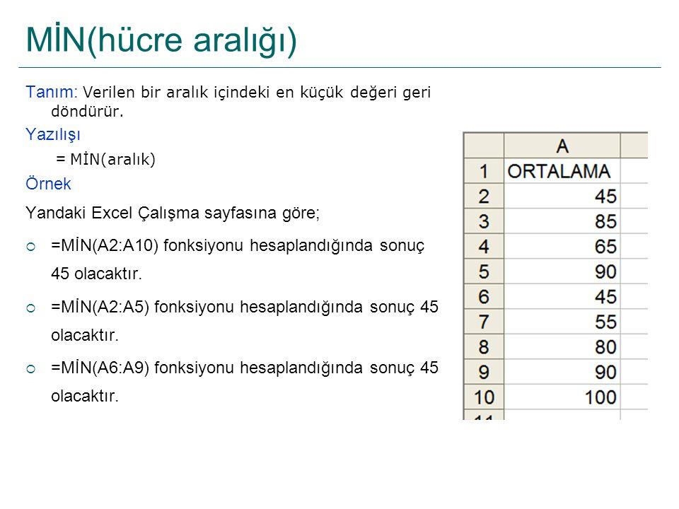 MİN(hücre aralığı) Tanım: Verilen bir aralık içindeki en küçük değeri geri döndürür. Yazılışı = MİN(aralık) Örnek Yandaki Excel Çalışma sayfasına göre