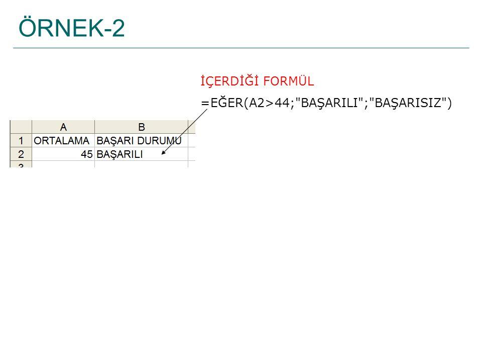 ÖRNEK-2 İÇERDİĞİ FORMÜL =EĞER(A2>44;