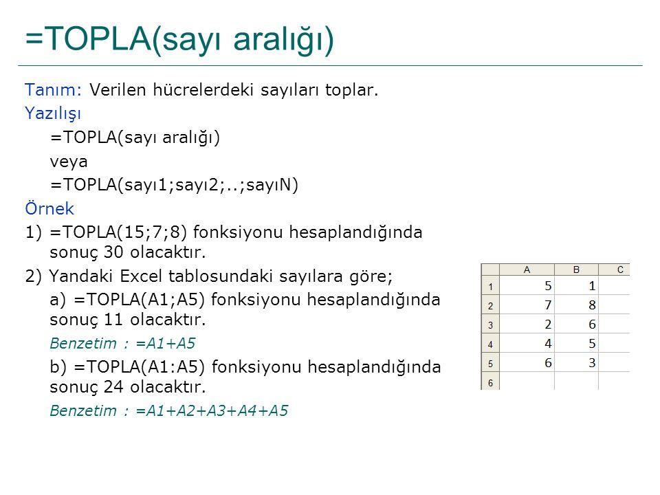 =TOPLA(sayı aralığı) Tanım: Verilen hücrelerdeki sayıları toplar. Yazılışı =TOPLA(sayı aralığı) veya =TOPLA(sayı1;sayı2;..;sayıN) Örnek 1) =TOPLA(15;7