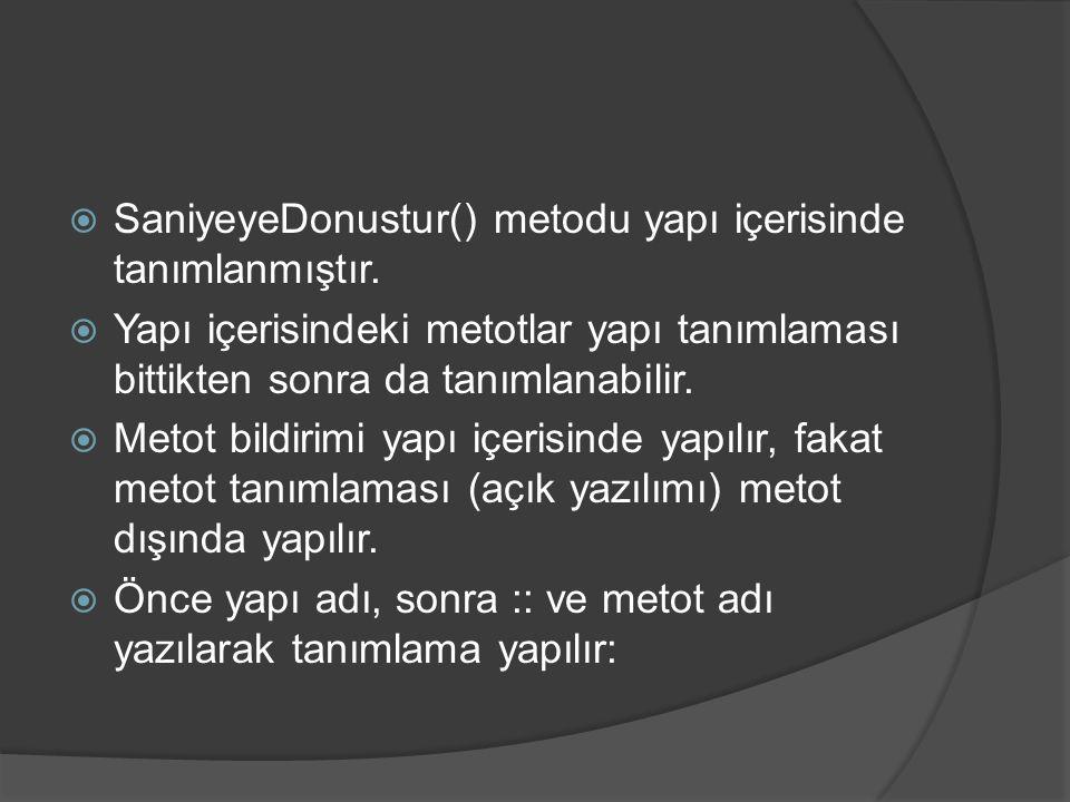  SaniyeyeDonustur() metodu yapı içerisinde tanımlanmıştır.  Yapı içerisindeki metotlar yapı tanımlaması bittikten sonra da tanımlanabilir.  Metot b