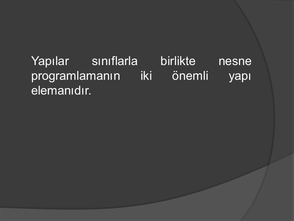 Örnek program #include struct Parca { int ModelNo; int ParcaNo; float Maliyet; };