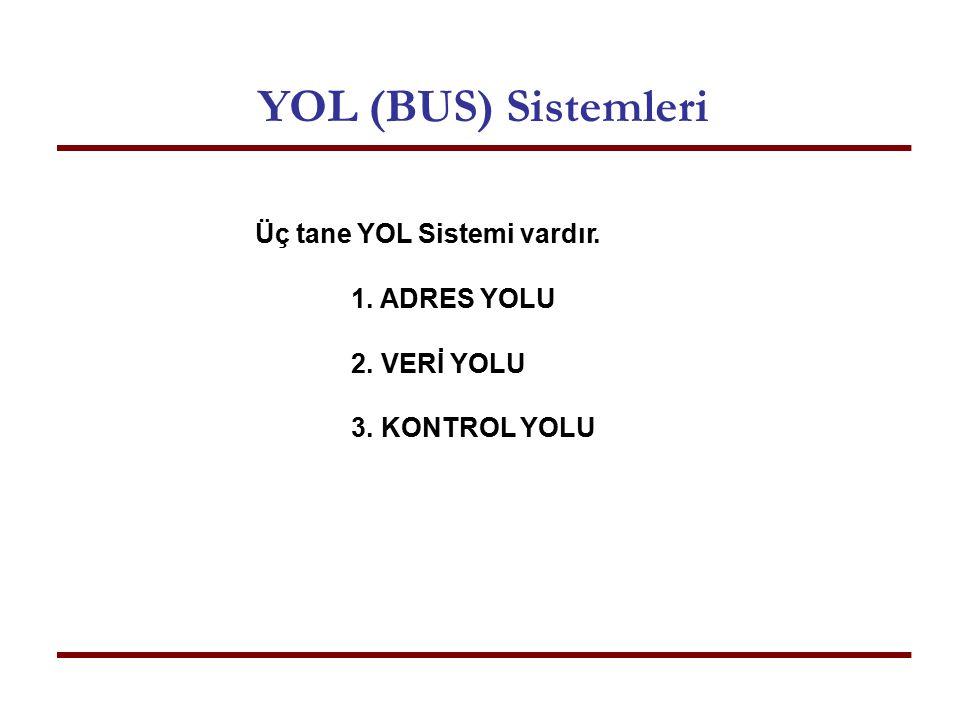 Üç tane YOL Sistemi vardır. 1.ADRES YOLU 2.VERİ YOLU 3.KONTROL YOLU YOL (BUS) Sistemleri