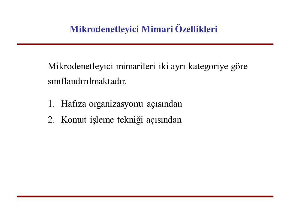 Mikrodenetleyici Mimari Özellikleri Mikrodenetleyici mimarileri iki ayrı kategoriye göre sınıflandırılmaktadır. 1.Hafıza organizasyonu açısından 2.Kom
