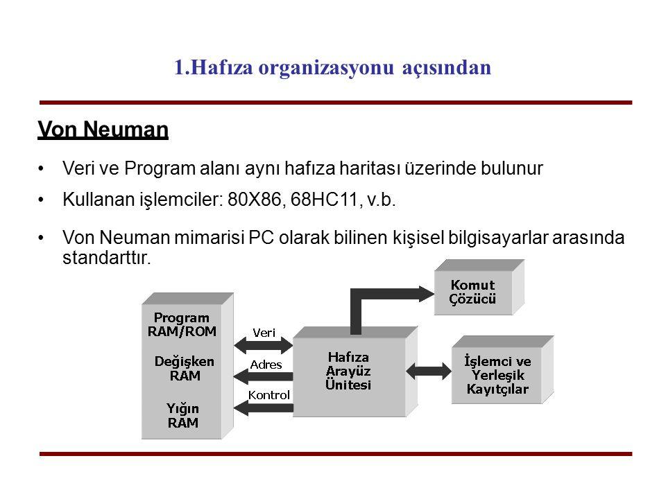 Von Neuman Veri ve Program alanı aynı hafıza haritası üzerinde bulunur Kullanan işlemciler: 80X86, 68HC11, v.b. Von Neuman mimarisi PC olarak bilinen