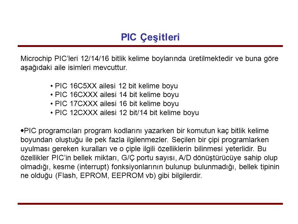 PIC Çeşitleri Microchip PIC'leri 12/14/16 bitlik kelime boylarında üretilmektedir ve buna göre aşağıdaki aile isimleri mevcuttur. PIC 16C5XX ailesi 12