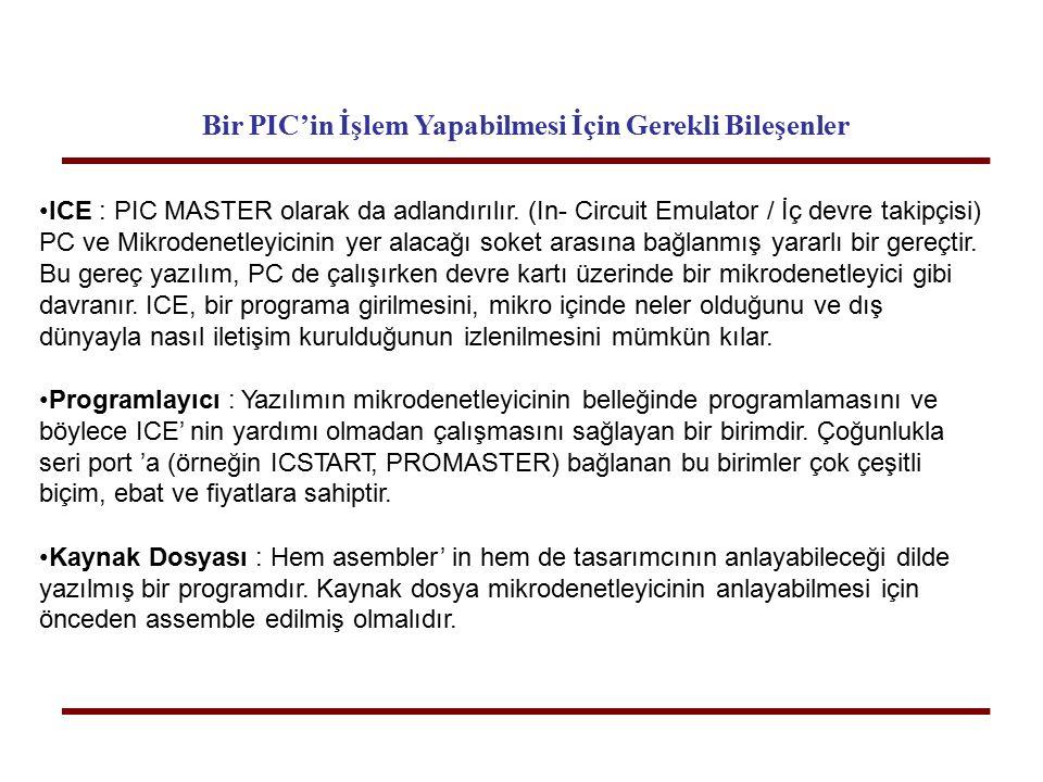 Bir PIC'in İşlem Yapabilmesi İçin Gerekli Bileşenler ICE : PIC MASTER olarak da adlandırılır. (In- Circuit Emulator / İç devre takipçisi) PC ve Mikrod