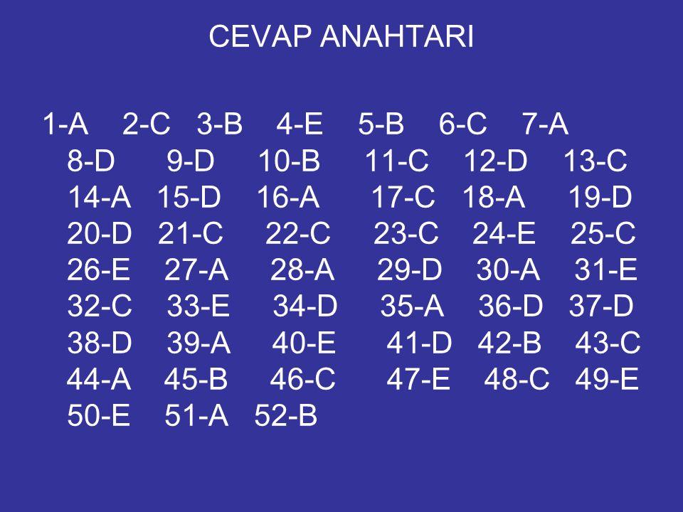 CEVAP ANAHTARI 1-A 2-C 3-B 4-E 5-B 6-C 7-A 8-D 9-D 10-B 11-C 12-D 13-C 14-A 15-D 16-A 17-C 18-A 19-D 20-D 21-C 22-C 23-C 24-E 25-C 26-E 27-A 28-A 29-D