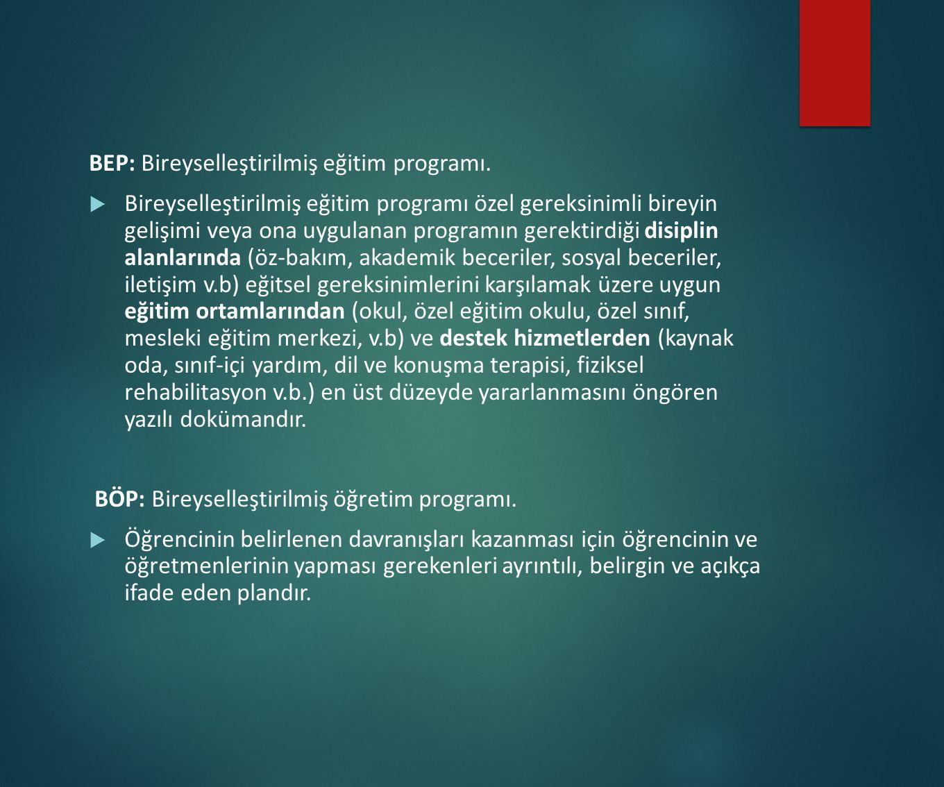 BEP: Bireyselleştirilmiş eğitim programı.