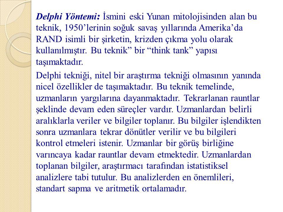 Delphi Yöntemi : İsmini eski Yunan mitolojisinden alan bu teknik, 1950'lerinin soğuk savaş yıllarında Amerika'da RAND isimli bir şirketin, krizden çık
