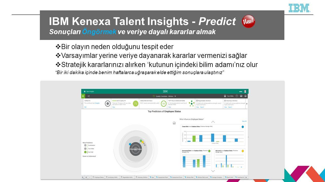 IBM Kenexa Talent Insights - Predict Sonuçları Öngörmek ve veriye dayalı kararlar almak  Bir olayın neden olduğunu tespit eder  Varsayımlar yerine veriye dayanarak kararlar vermenizi sağlar  Stratejik kararlarınızı alırken 'kutunun içindeki bilim adamı'nız olur Bir iki dakika içinde benim haftalarca uğraşarak elde ettiğim sonuçlara ulaştınız