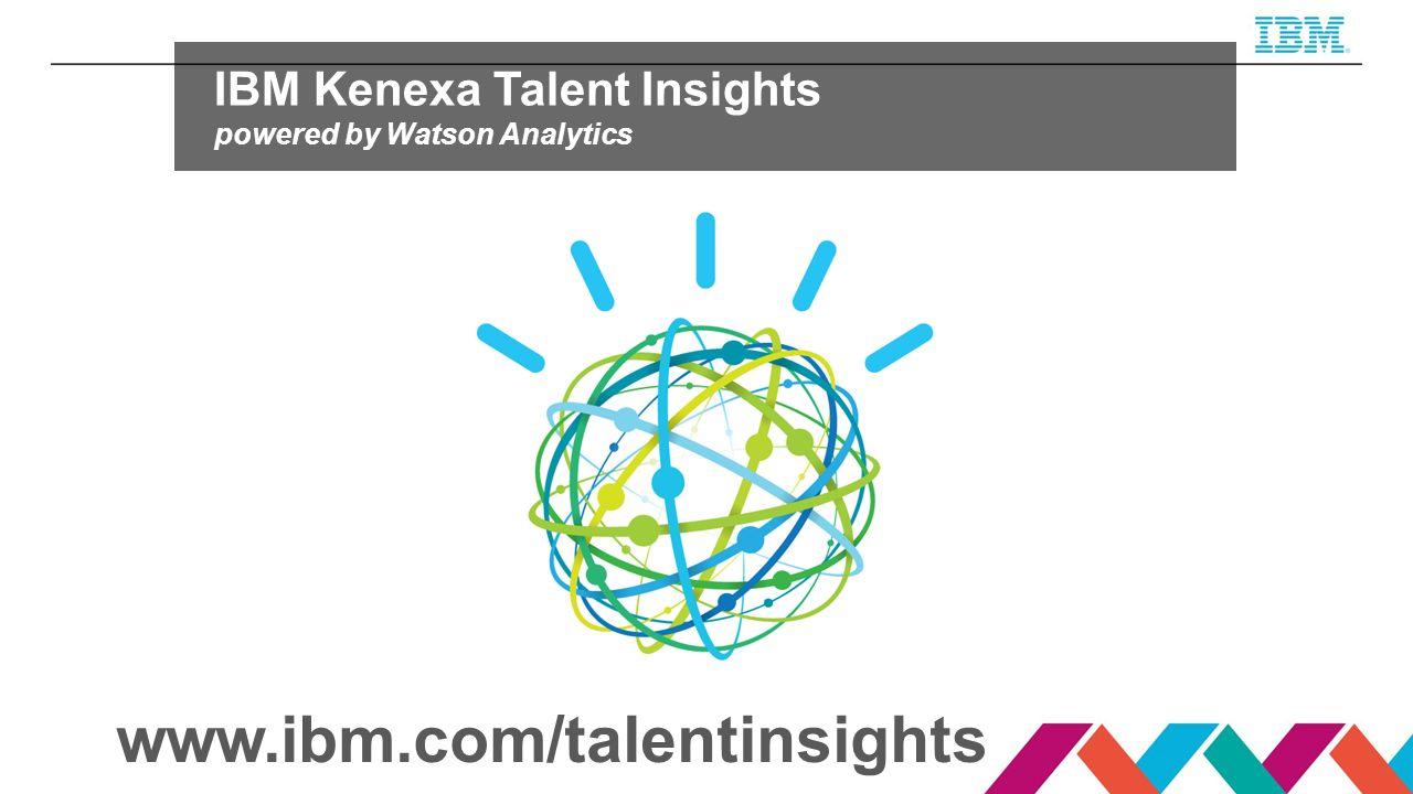 www.ibm.com/talentinsights IBM Kenexa Talent Insights powered by Watson Analytics