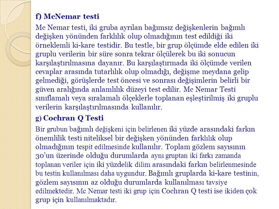 f) McNemar testi Mc Nemar testi, iki gruba ayrılan bağımsız değişkenlerin bağımlı değişken yönünden farklılık olup olmadığının test edildiği iki örnek