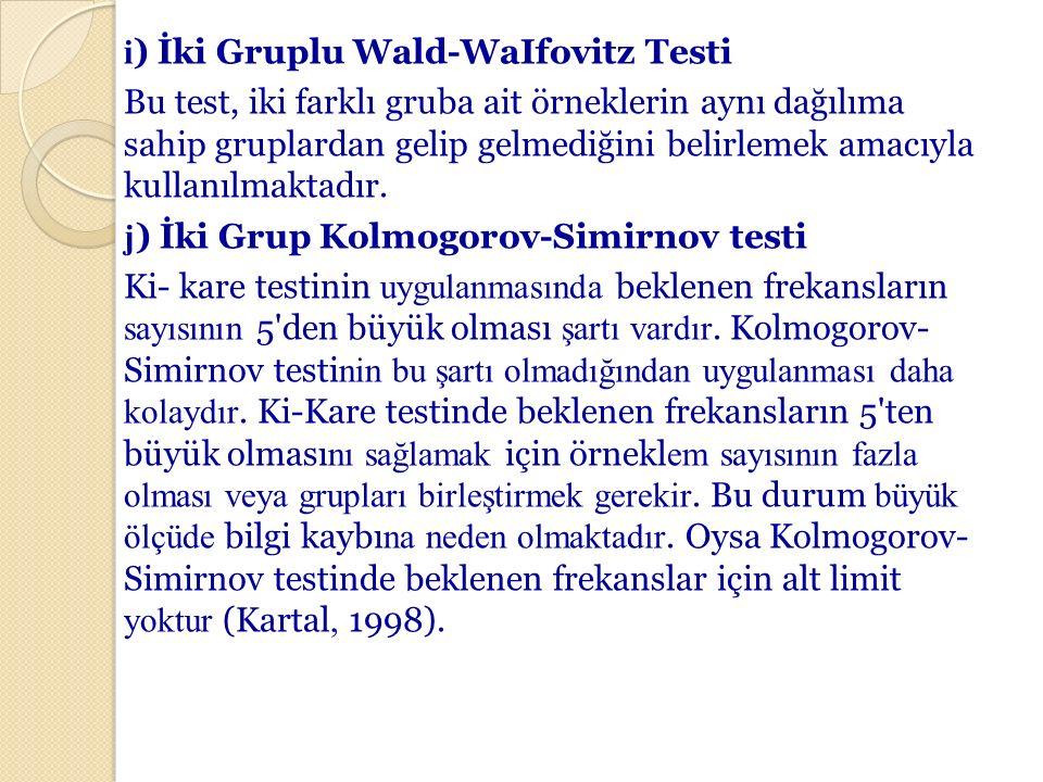 i ) İki Gruplu Wald-WaIfovitz Testi Bu test, iki farklı gruba ait örneklerin aynı dağılıma sahip gruplardan gelip gelmediğini belirlemek amacıyla kull
