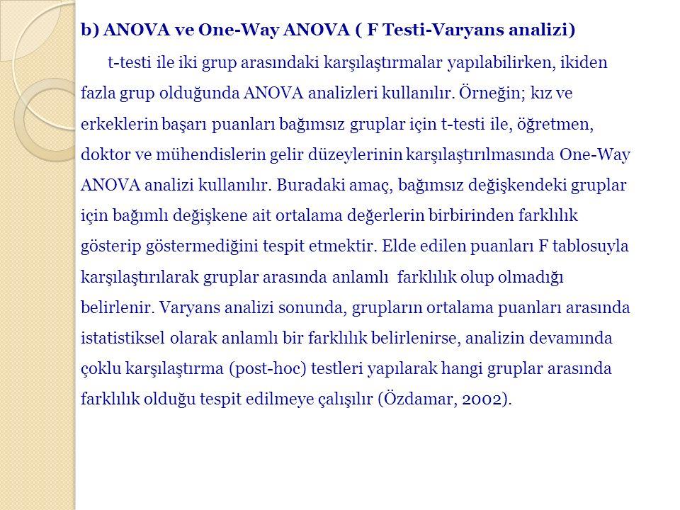 b) ANOVA ve One-Way ANOVA ( F Testi-Varyans analizi) t-testi ile iki grup arasındaki karşılaştırmalar yapılabilirken, ikiden fazla grup olduğunda ANOV
