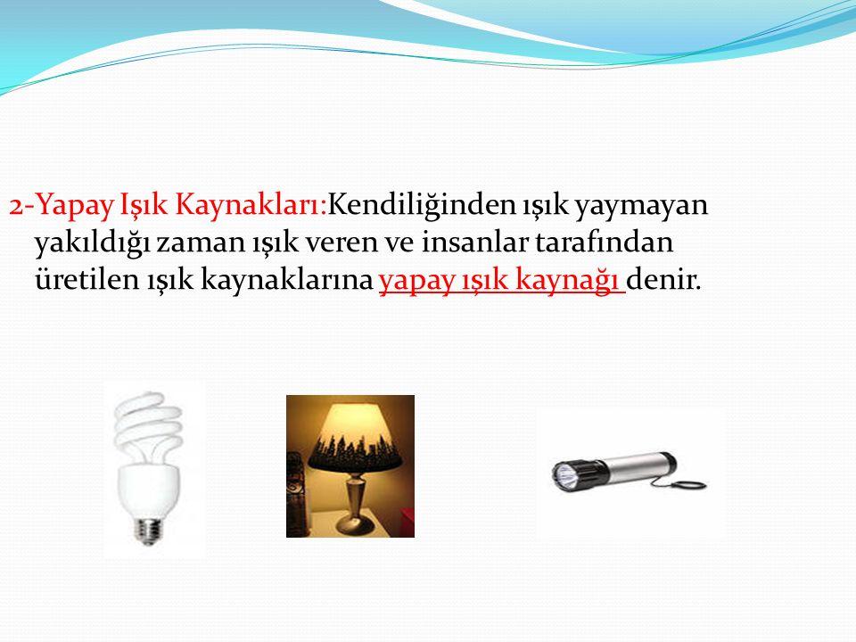 2.1Doğal Ve Yapay Işık Kaynakları Işık kaynakları doğal ve yapay olmak üzere ayrılır.