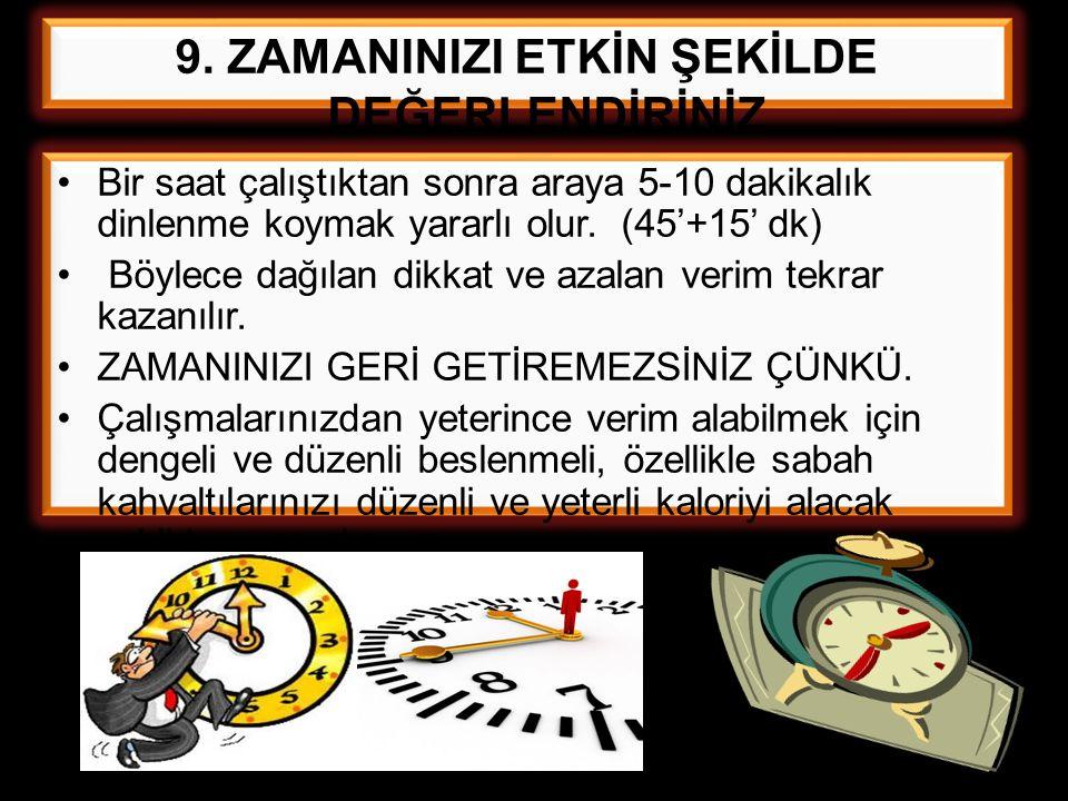 Bir saat çalıştıktan sonra araya 5-10 dakikalık dinlenme koymak yararlı olur. (45'+15' dk) Böylece dağılan dikkat ve azalan verim tekrar kazanılır. ZA