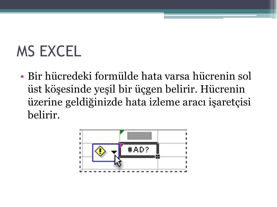 MS EXCEL Bir hücredeki formülde hata varsa hücrenin sol üst köşesinde yeşil bir üçgen belirir.