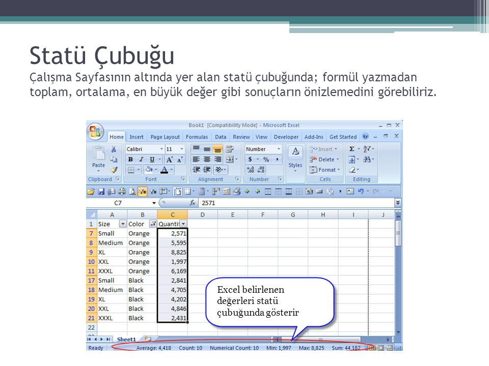 Statü Çubuğu Çalışma Sayfasının altında yer alan statü çubuğunda; formül yazmadan toplam, ortalama, en büyük değer gibi sonuçların önizlemedini görebi