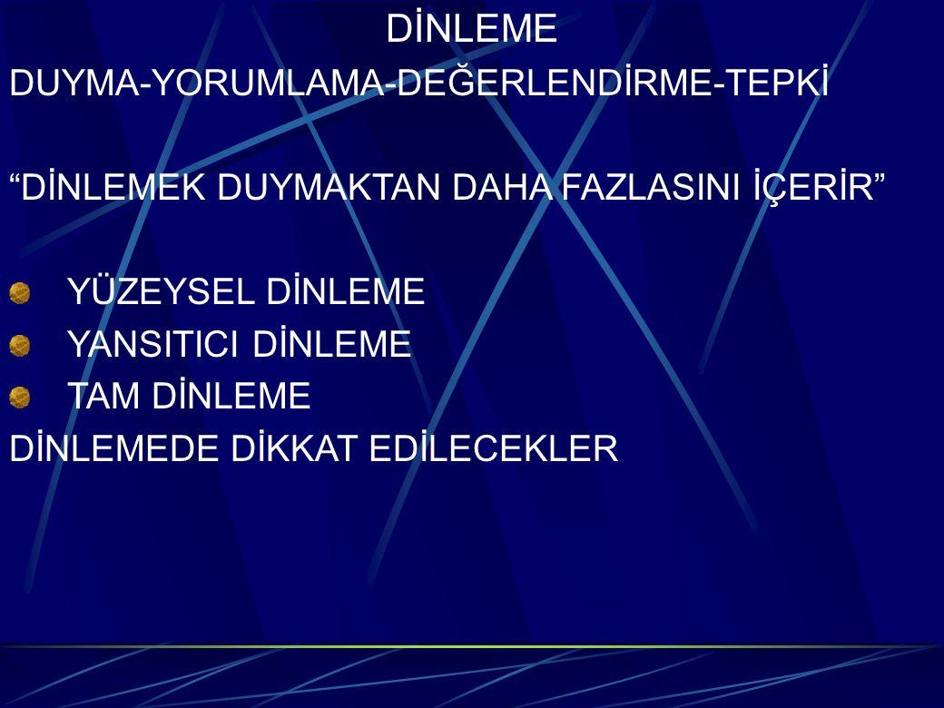 """DİNLEME DUYMA-YORUMLAMA-DEĞERLENDİRME-TEPKİ """"DİNLEMEK DUYMAKTAN DAHA FAZLASINI İÇERİR"""" YÜZEYSEL DİNLEME YANSITICI DİNLEME TAM DİNLEME DİNLEMEDE DİKKAT"""