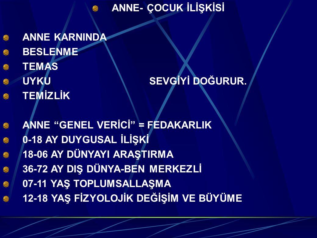 """ANNE- ÇOCUK İLİŞKİSİ ANNE KARNINDA BESLENME TEMAS UYKUSEVGİYİ DOĞURUR. TEMİZLİK ANNE """"GENEL VERİCİ"""" = FEDAKARLIK 0-18 AY DUYGUSAL İLİŞKİ 18-06 AY DÜNY"""