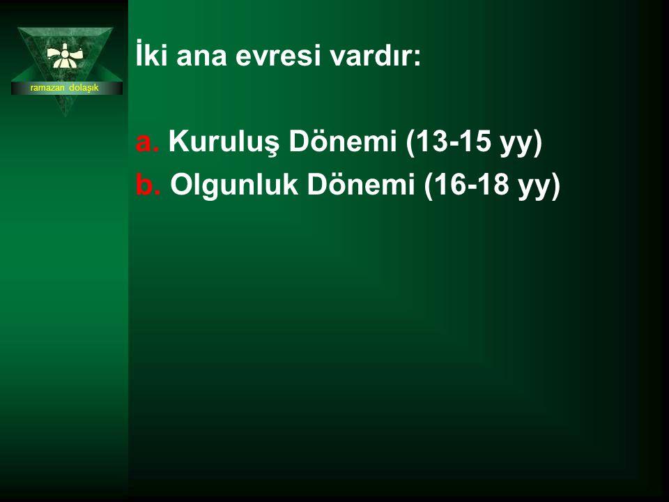 İki ana evresi vardır: a. Kuruluş Dönemi (13-15 yy) b. Olgunluk Dönemi (16-18 yy) ramazan dolaşık