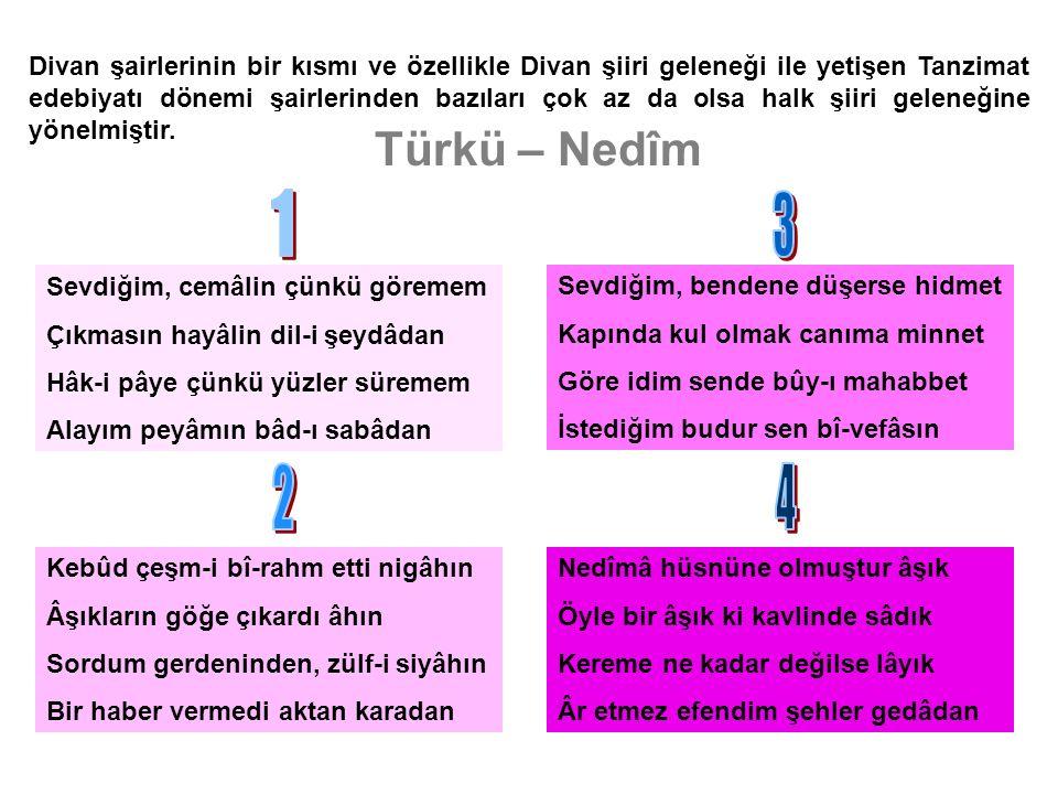 Türkü – Nedîm Divan şairlerinin bir kısmı ve özellikle Divan şiiri geleneği ile yetişen Tanzimat edebiyatı dönemi şairlerinden bazıları çok az da olsa