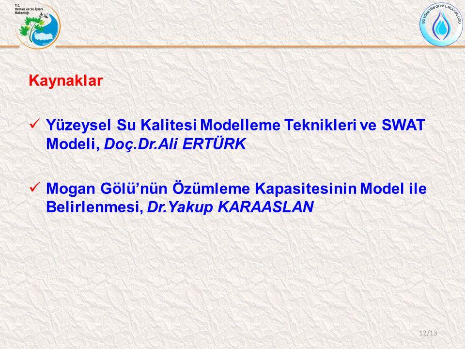 Kaynaklar Yüzeysel Su Kalitesi Modelleme Teknikleri ve SWAT Modeli, Doç.Dr.Ali ERTÜRK Mogan Gölü'nün Özümleme Kapasitesinin Model ile Belirlenmesi, Dr.Yakup KARAASLAN 12/13