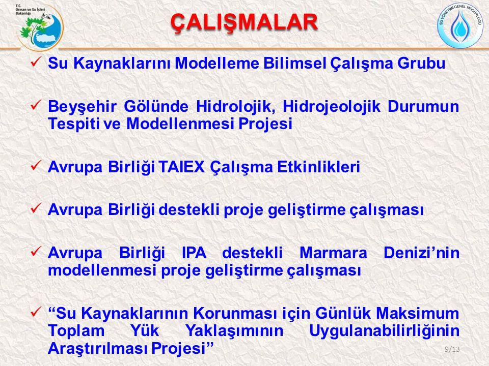 ÇALIŞMALAR Su Kaynaklarını Modelleme Bilimsel Çalışma Grubu Beyşehir Gölünde Hidrolojik, Hidrojeolojik Durumun Tespiti ve Modellenmesi Projesi Avrupa Birliği TAIEX Çalışma Etkinlikleri Avrupa Birliği destekli proje geliştirme çalışması Avrupa Birliği IPA destekli Marmara Denizi'nin modellenmesi proje geliştirme çalışması Su Kaynaklarının Korunması için Günlük Maksimum Toplam Yük Yaklaşımının Uygulanabilirliğinin Araştırılması Projesi 9/13