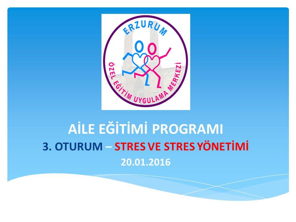 AİLE EĞİTİMİ PROGRAMI 3. OTURUM – STRES VE STRES YÖNETİMİ 20.01.2016