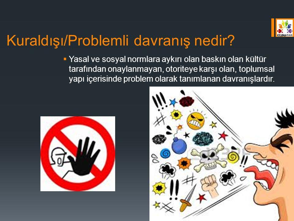 Kuraldışı/Problemli davranış nedir?  Yasal ve sosyal normlara aykırı olan baskın olan kültür tarafından onaylanmayan, otoriteye karşı olan, toplumsal