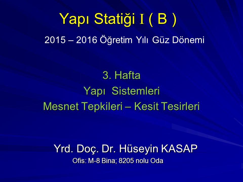 2015 – 2016 Öğretim Yılı Güz Dönemi Yapı Statiği I ( B ) 3.
