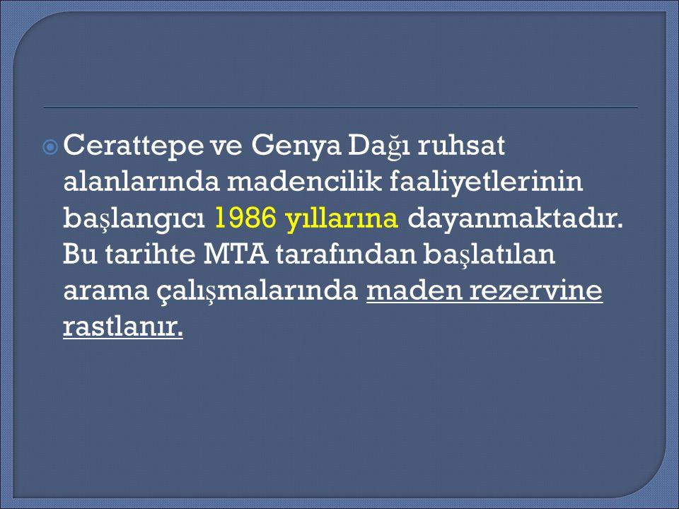  Cerattepe ve Genya Da ğ ı ruhsat alanlarında madencilik faaliyetlerinin ba ş langıcı 1986 yıllarına dayanmaktadır.