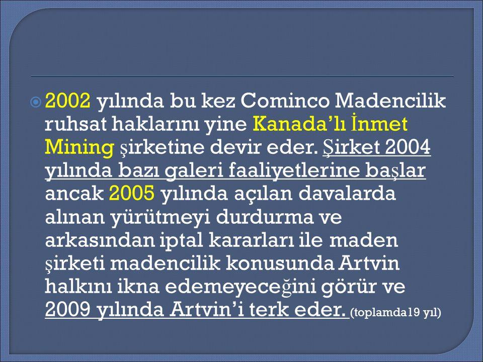  2012 yılı ba ş ında Enerji ve Tabii Kaynaklar Bakanı Cerattepe ve Genya Da ğ ı ruhsat alanlarının yeniden ihale edilece ğ ini duyurur.