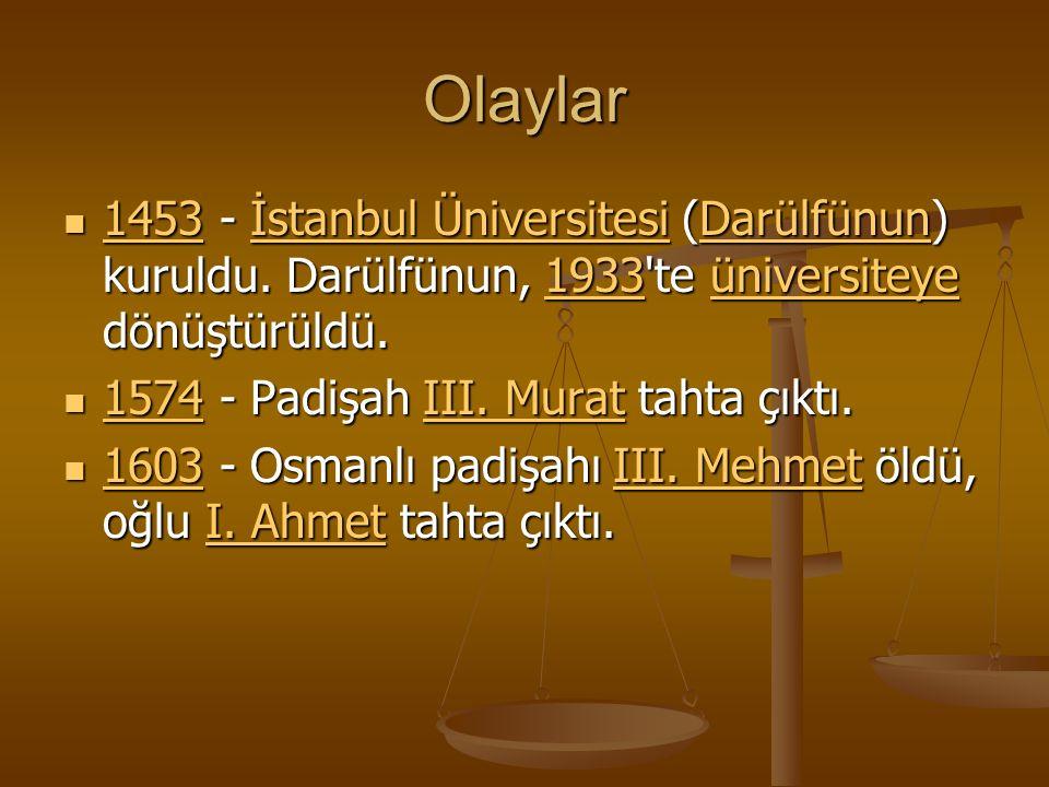 Olaylar 1453 - İstanbul Üniversitesi (Darülfünun) kuruldu.