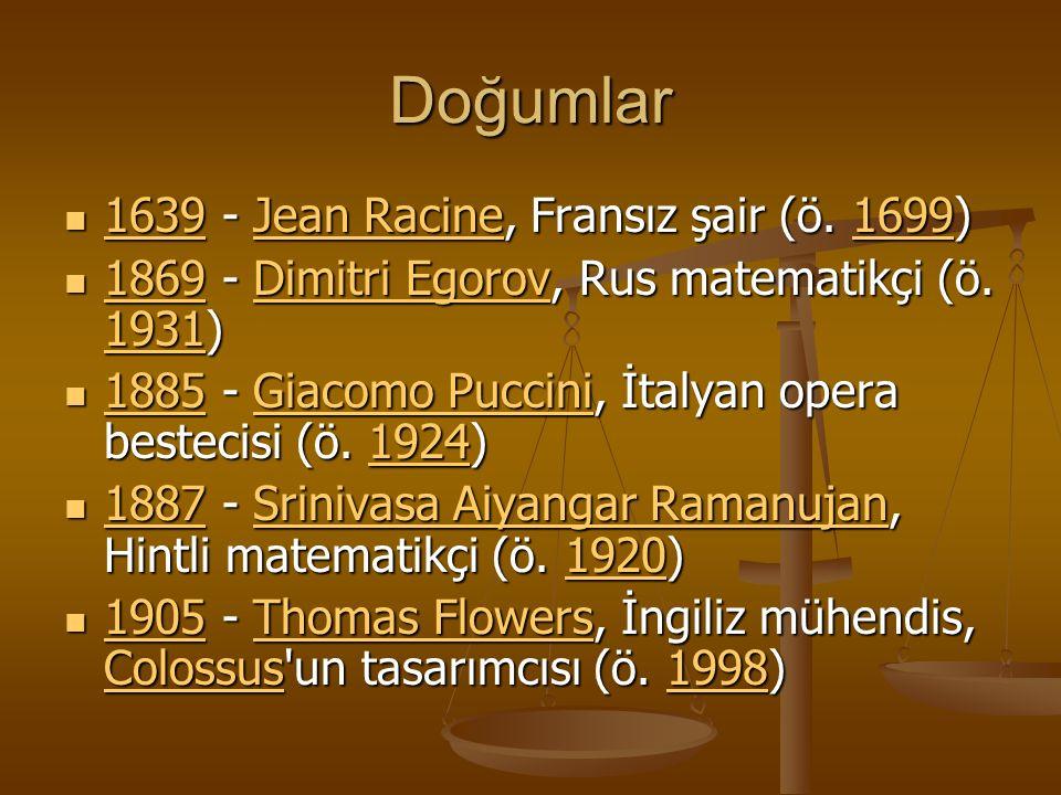 Doğumlar 1639 - Jean Racine, Fransız şair (ö. 1699) 1639 - Jean Racine, Fransız şair (ö.