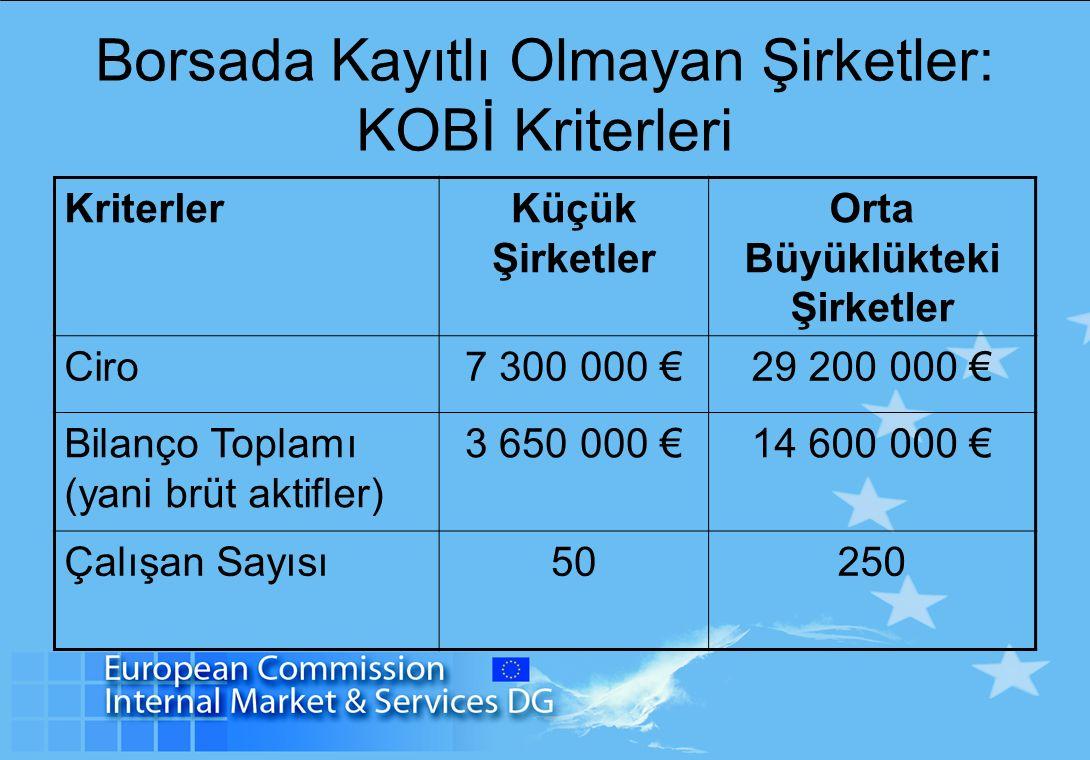 Borsada Kayıtlı Olmayan Şirketler: KOBİ Kriterleri KriterlerKüçük Şirketler Orta Büyüklükteki Şirketler Ciro7 300 000 €29 200 000 € Bilanço Toplamı (yani brüt aktifler) 3 650 000 €14 600 000 € Çalışan Sayısı50250
