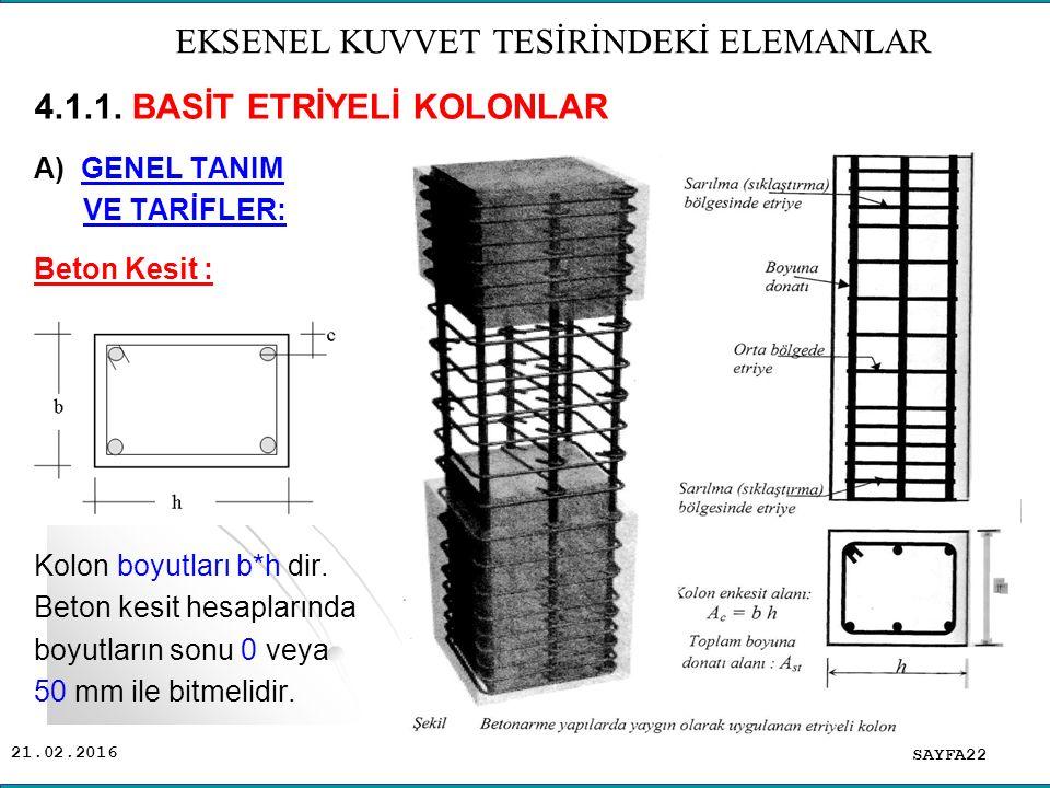 21.02.2016 SAYFA22 EKSENEL KUVVET TESİRİNDEKİ ELEMANLAR 4.1.1.