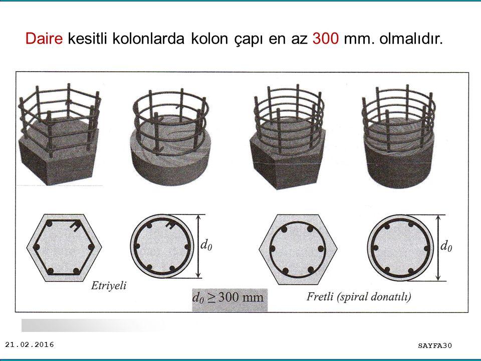 21.02.2016 SAYFA30 Daire kesitli kolonlarda kolon çapı en az 300 mm. olmalıdır.