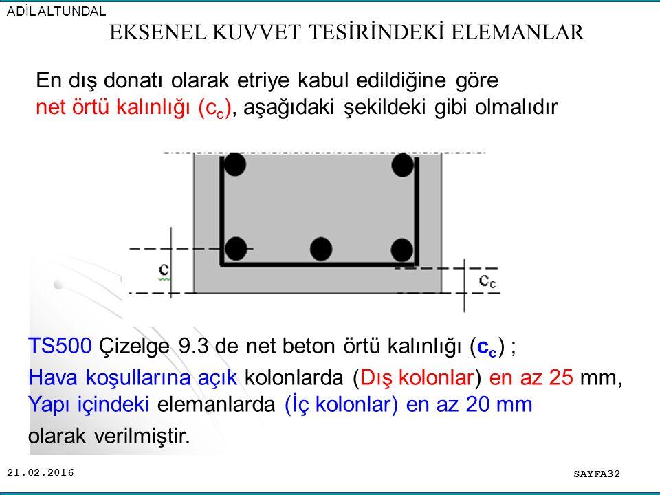 21.02.2016 En dış donatı olarak etriye kabul edildiğine göre net örtü kalınlığı (c c ), aşağıdaki şekildeki gibi olmalıdır SAYFA32 ADİL ALTUNDAL EKSENEL KUVVET TESİRİNDEKİ ELEMANLAR TS500 Çizelge 9.3 de net beton örtü kalınlığı (c c ) ; Hava koşullarına açık kolonlarda (Dış kolonlar) en az 25 mm, Yapı içindeki elemanlarda (İç kolonlar) en az 20 mm olarak verilmiştir.